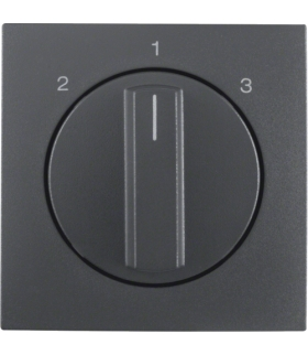 B.Kwadrat/B.3/B.7 Płytka czołowa z pokrętłem do łącznika 3-pozycyjnego bez pozycji zerowej, antracyt mat Berker 10841606