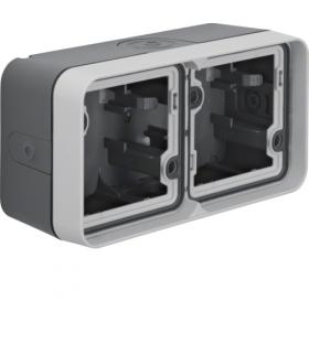 W.1 Adapter natynkowy 2-kr poziomy, 4 wejścia, IP55, szary Berker 6719323515