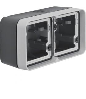 W.1 Adapter natynkowy 2-kr poziomy, 2 wejścia, IP55, szary Berker 6719323505