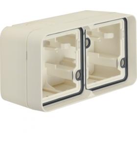 W.1 Adapter natynkowy 2-kr poziomy, 2 wejścia, IP55, biały Berker 6719323502
