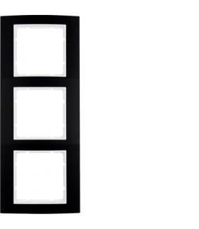 B.3 Ramka 3-krotna, alu, czarny/biały Berker 10133025