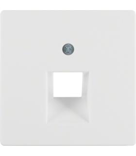 Q.x Płytka czołowa do gniazda przyłączeniowego UAE 1-kr komputerowego i telefonicznego, biały, aksamit Berker 14076089