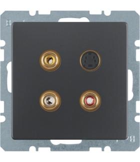 Q.x Gniazdo 3xCinch/S-Video, antracyt aksamit, lakierowany Berker 3315326086