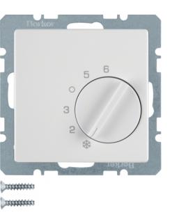 Q.x Regulator temperatury pomieszczenia z zestykiem zmiennym i elementem centralnym, biały, aksamit Berker 20266089