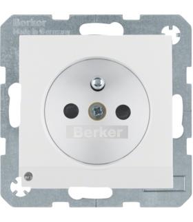 B.3/B.7 Gniazdo z uziemieniem i podświetleniem orientacyjnym LED, biały, mat Berker 6765101909