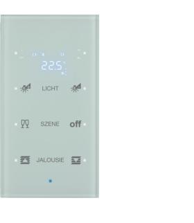 KNX TS Sensor dotykowy 3-kr z reg. temp., konfigurowalny, szkło, biały