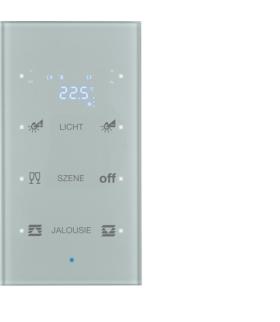 KNX TS Sensor dotykowy 3-kr z reg. temp., konfigurowalny, szkło, alu
