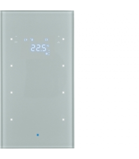 KNX TS Sensor dotykowy 3-kr z reg. temp., szkło, alu