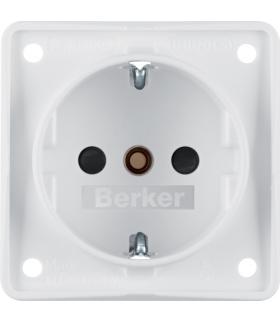 Integro Flow Gniazdo SCHUKO z podwyższoną ochroną styków, biały, mat Berker 941952502