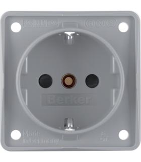 Integro Flow Gniazdo SCHUKO z podwyższoną ochroną styków, szary, mat Berker 941952506