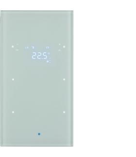 KNX TS Sensor dotykowy 2-kr z reg. temp., szkło, białe