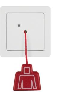 Q.1 System przywoławczy Łącznik pociągany z ramką, biały aksamit Berker 52026089