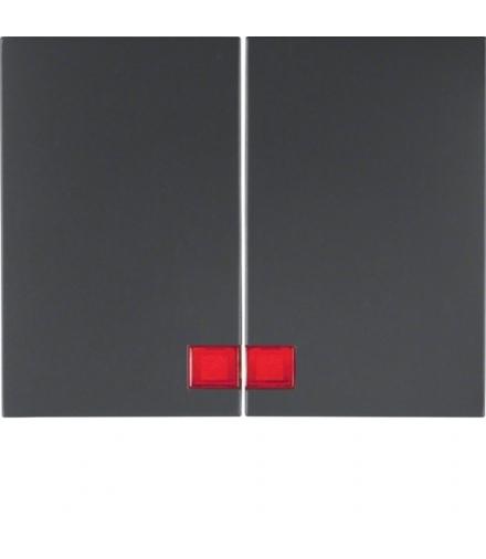 K.1 Klawisze z czerwoną soczewką do łącznika 2-klawiszowego, antracyt mat, lakierowany Berker 14377006
