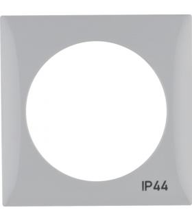 """Integro Flow Ramka 1-krotna z nadrukiem """"IP44"""" bez uszczelki, szary, połysk Berker 918272597"""