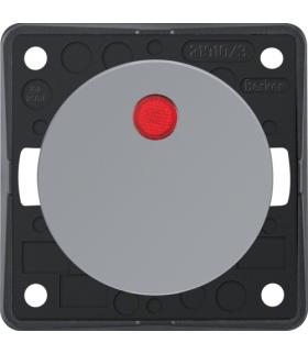 Integro Flow Łącznik klawiszowy przyciskowy podświetlany z czerwoną soczewką, szary, połysk Berker 937722507