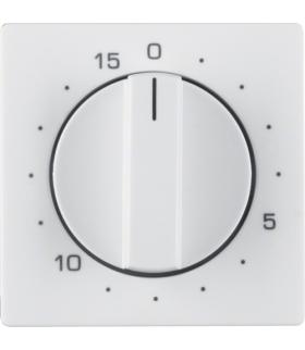 Q.x Płytka czołowa z pokrętłem regulacyjnym do łącznika czasowego 0-15 min, biały, aksamit Berker 16326089
