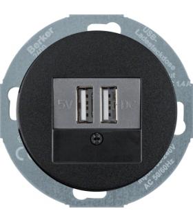 R.classic/Serie 1930/Glas Gniazdo ładowania USB 230V z płytką czołową, czarny, połysk Berker 26002045