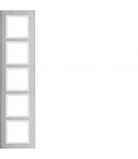 B.7 Ramka 5-krotna pozioma, stal szlachetna/biały mat Berker 10253609