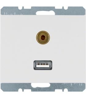 K.1 Gniazdo USB/3,5mm audio, biały, połysk Berker 3315397009