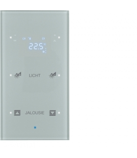 KNX TS Sensor dotykowy 2-kr z reg. temp., konfigurowalny, szkło, alu