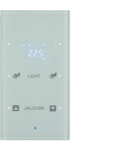 KNX TS Sensor dotykowy 2-kr z reg. temp., konfigurowalny, szkło, biały