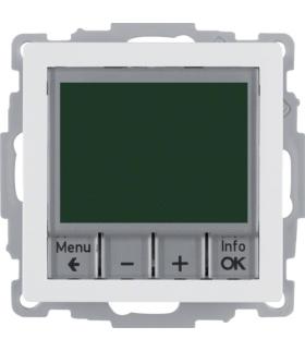 Q.x Regulator temperatury ze sterowaniem czasowym ze stykiem zwiernym i elementem centralnym, biały, aksamit Berker 20446089
