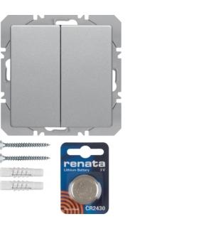 Q.x KNX RF quicklink przycisk radiowy 2-krotny płaski Berker.Net,  alu