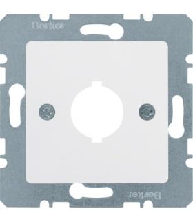 B.Kwadrat Płytka czołowa z otworem Ø 18,8 mm do gniazda wyrównania potencjału 1-kr, biały, połysk Berker 143109