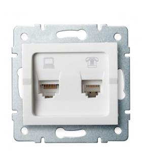 LOGI 02-1430-002 biały Gniazdo komputerowo-telefoniczne, (RJ45 Cat 5e+RJ11) Kanlux 25112