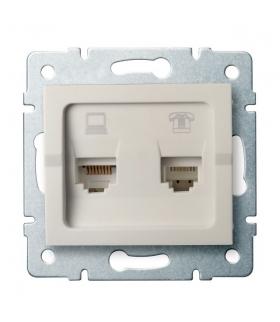 LOGI 02-1440-003 kremowy Gniazdo komputerowo-telefoniczne, (RJ45 Cat 6+RJ11) Kanlux 25172