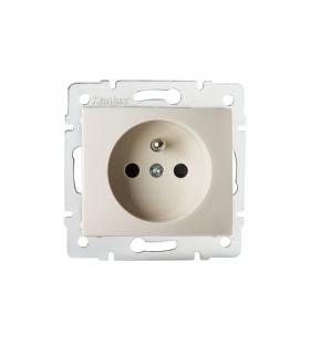 DOMO 01-1250-103 kremowy Gniazdo zasilające pojedyncze, francuskie, ochrona styków Kanlux 24794