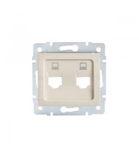 LOGI 02-1419-003 kremowy Adapter gniazdo komputerowe podwójne niezależne, (2x RJ45 Jack), bez gniazda Kanlux 25937