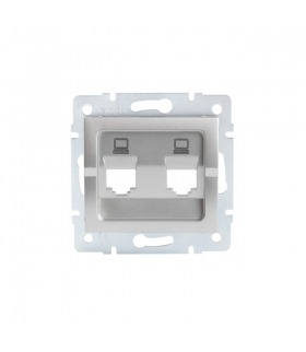 LOGI 02-1419-043 srebrny Adapter gniazdo komputerowe podwójne niezależne, (2x RJ45 Jack), bez gniazda Kanlux 25938
