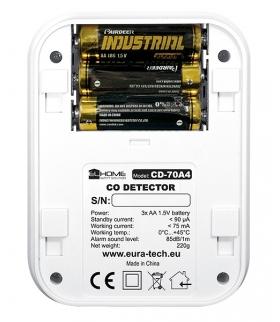 Czujnik czadu El Home CD-70A4 - wyświetlacz LCD, termometr, bateryjny