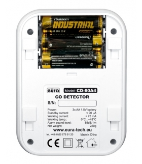 Czujnik czadu Eura CD-60A4 - wyświetlacz LCD, termometr, bateryjny