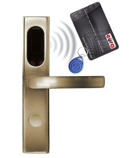 SZYLD ZAMKA ELEKTROMECHANICZNEGO EURA ELH-10B9 brass - z czytnikiem kart zbliżeniowych (RFID), bateryjny, mosiądz