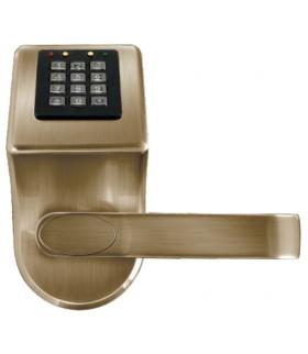 SZYLD Z KONTROLĄ DOSTĘPU EURA ELH-70B9 brass - z czytnikiem kart zbliżeniowych (RFID), szyfrator, bateryjny, mosiądz