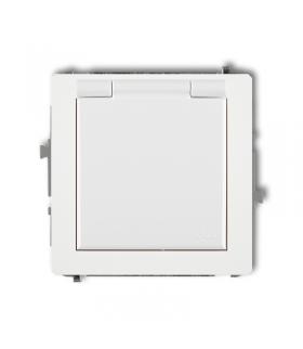 DECO Mechanizm gniazda bryzgoszczelnego z uziemieniem SCHUKO 2P+Z (klapka biała, przesłony torów prądowych) Karlik DGPB-1sp