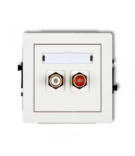 DECO Mechanizm gniazda podwójnego RCA (typu cinch - biały i czerwony, pozłacany) Karlik DGRCA-2
