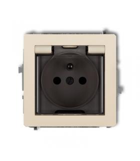 DECO Mechanizm gniazda bryzgoszczelnego z uziemieniem 2P+Z (klapka dymna, przesłony torów prądowych) Karlik 1DGPB-1zdp