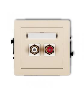 DECO Mechanizm gniazda podwójnego RCA (typu cinch - biały i czerwony, pozłacany) Karlik 1DGRCA-2