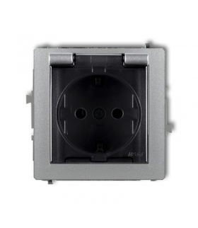DECO Mechanizm gniazda bryzgoszczelnego z uziemieniem SCHUKO 2P+Z (klapka dymna, przesłony torów prądowych) Karlik 7DGPB-1sdp