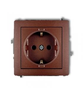DECO Mechanizm gniazda pojedynczego z uziemieniem SCHUKO 2P+Z (przesłony torów prądowych) Karlik 9DGP-1sp