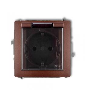 DECO Mechanizm gniazda bryzgoszczelnego z uziemieniem SCHUKO 2P+Z (klapka dymna, przesłony torów prądowych) Karlik 9DGPB-1sdp