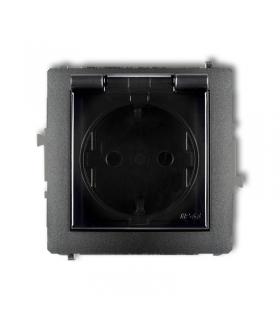 DECO Mechanizm gniazda bryzgoszczelnego z uziemieniem SCHUKO 2P+Z (klapka dymna, przesłony torów prądowych) Karlik 11DGPB-1sdp