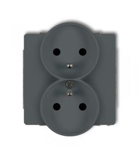 DECO Mechanizm gniazda podwójnego do ramki z uziemieniem 2x(2P+Z) (przesłony torów prądowych) Karlik 28DGPR-2zp