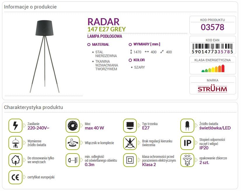 Lampa podłogowa RADAR