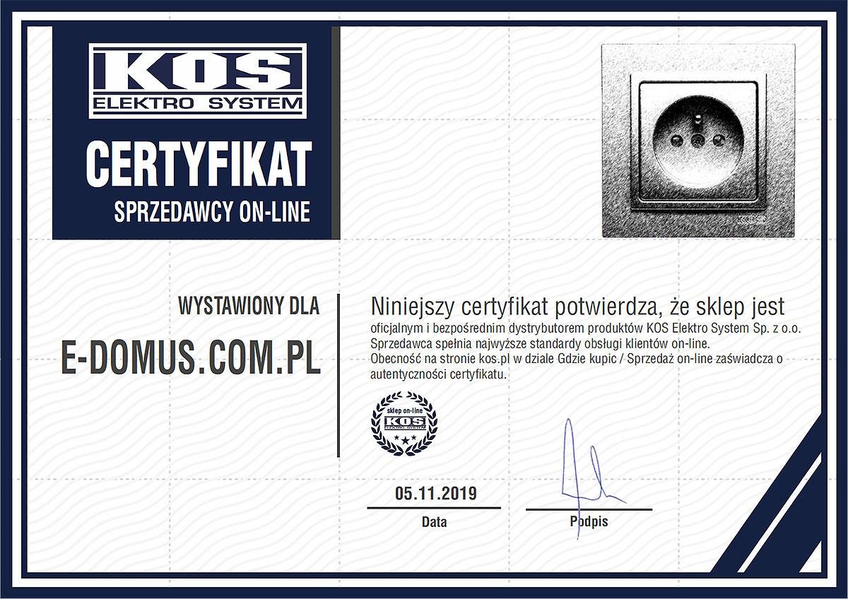 Certyfikat KOS dla sklepu internetowego e-domus.com.pl