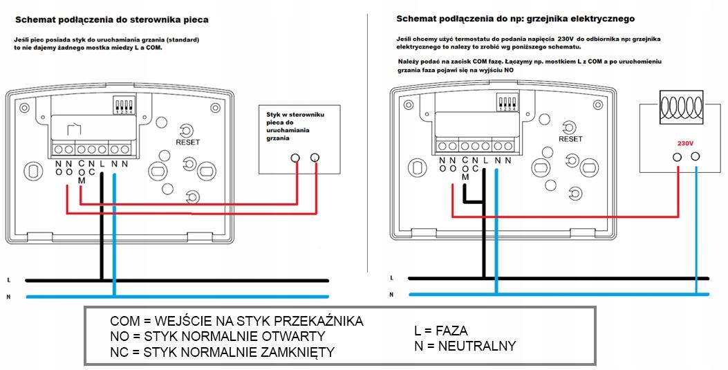 Chemat podłączenia Termostatu, regulatora pokojowego bezprzewodowego, T13RF, P5613, EMOS